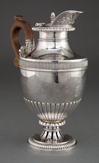 A PAUL STORR GEORGE III SILVER HOT WATER JUG Paul Storr, London, England, circa 1813-1814 Marks: (lion passant