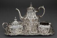 A WHITING THREE-PIECE SILVER TEA SERVICE WITH TRAY Whiting Manufacturing Company, New York, New York, circa 1902
