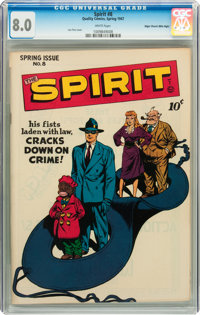 The Spirit #8 Mile High pedigree (Quality, 1947) CGC VF 8.0 White pages