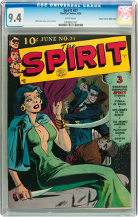 The Spirit #21 Mile High pedigree (Quality, 1950) CGC NM 9.4 White pages