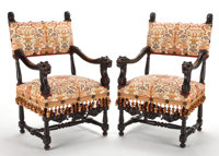 PAIR OF RENAISSANCE REVIVAL CARVED WALNUT AND UPHOLSTERED ARMCHAIRS American or Continental 41 x 23-1/2 x 2