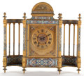 Furniture , CONTINENTAL GILT BRONZE AND CHAMPLEVE ENAMEL MANTLE CLOCK . Late 19th century . 28-1/2 x 31-1/4 x 8-1/2 inches (72.4 x 79.4 ...