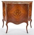 Furniture : French, LOUIS XV STYLE INLAID SERPENTINE CABINET WITH MARBLE TOP . France, 20th century. 40-1/4 x 45 x 16-1/2 inches (102.2 x 114.3 ...