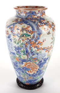 JAPANESE ENAMELED AND GILT DECORATED PORCELAIN VASE WITH CHERRY BLOSSOMS AND CHRYSANTHEMUMS 20th century Marks