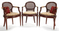 Furniture , LOUIS XVI STYLE MAHOGANY DINING SUITE COMPRISING TWELVE DINING ARM CHAIRS WITH CUSHION PILLOW, EXTENSION DINING TABLE WITH TWO... (Total: 14 Items)