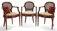 LOUIS XVI STYLE MAHOGANY DINING SUITE COMPRISING TWELVE DINING ARM CHAIRS WITH CUSHION PILLOW, EXTENSION DINING TABLE WI...
