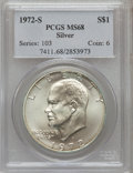 Eisenhower Dollars: , 1972-S $1 Silver MS68 PCGS. PCGS Population (1408/13). NGC Census: (322/4). Mintage: 2,193,056. Numismedia Wsl. Price for p...