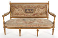 Paintings, LOUIS XVI STYLE GILT WOOD AND AUBUSSON UPHOLSTERED FIVE PIECE SALON SUITE COMPRISING SETTEE AND FOUR FAUTEUILS . France, 20t...