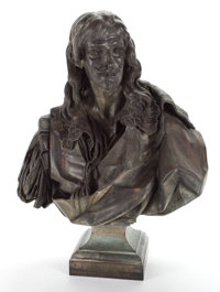 FRENCH PATINATED BRONZE BUST OF JEAN DE ROTROU AFTER JEAN JACQUES CAFFIERI, (FRENCH, 1725-1792) 19th century