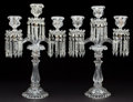 Decorative Arts, Continental:Lamps & Lighting, PAIR OF BACCARAT STYLE CUT CRYSTAL THREE-LIGHT CANDELABRA . 19-1/2 x 12-3/4 inches (49.5 x 32.4 cm). ... (Total: 2 Items)