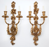 SET OF FOUR LOUIS XV STYLE GILT BRONZE TWO-ARM SCONCES France, 20th century 30-1/4 x 13-1/4 inches (76.8 x 33