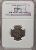 Early Dimes: , 1805 10C 4 Berries--Damaged--NGC Details. VF. JR-2. NGC Census:(9/193). PCGS Population (25/216). Mintage: 120,780. Numis...