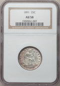 Seated Quarters: , 1891 25C AU58 NGC. NGC Census: (56/467). PCGS Population (67/481).Mintage: 3,920,600. Numismedia Wsl. Price for problem fr...