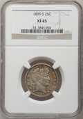 Barber Quarters: , 1899-S 25C XF45 NGC. NGC Census: (2/42). PCGS Population (3/57).Mintage: 708,000. Numismedia Wsl. Price for problem free N...