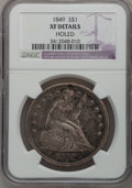Seated Dollars, 1849 $1 -- Holed -- NGC Details. XF. NGC Census: (5/220). PCGSPopulation (30/248). Mintage: 62,600. Numismedia Wsl. Price ...