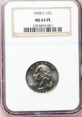 Washington Quarters: , 1998-D 25C MS65 Prooflike NGC. NGC Census: (14/47). PCGS Population(64/124). Mintage: 821,000,000. Numismedia Wsl. Price f...