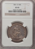 Seated Half Dollars: , 1861-O 50C XF45 NGC. NGC Census: (13/195). PCGS Population(25/190). Mintage: 2,532,633. Numismedia Wsl. Price for problem ...