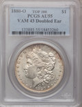 Morgan Dollars, 1880-O $1 Double Ear AU55 PCGS. Vam-43, Top-100. PCGS Population(14/18). (#133885)...