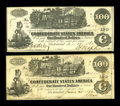 Confederate Notes:1862 Issues, T39 $100 1862. Two Examples. These notes are lightly handled. Apinhole is spotted on the toned one, while the bright one ha...(Total: 2 notes)