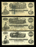 Confederate Notes:1862 Issues, Two Genuine and One Fake C-note.. T39 $100 1862 Fine, once mounted.CT39 $100 1862 VF. T40 $100 1862 Choice AU.... (Total: 3 notes)