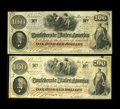 "Confederate Notes:1862 Issues, Scroll Changeover pair of T41 $100 1862. Interesting ""changeover""pair, as the first note is of the Scroll 1 variety, and th...(Total: 2 notes)"