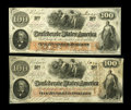 Confederate Notes:1862 Issues, T41 $100 1862 Two Examples. The Scroll 1 note grades Choice AU withembossing and has John Boston and Macon rubber stamp... (Total: 2notes)