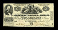 Confederate Notes:1862 Issues, T42 $2 1862. This is a nice example of this issue with over 90% ofthe frame line within the trim. Extremely Fine.. Fr...