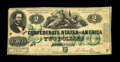 Confederate Notes:1862 Issues, T43 $2 1862. A short-lived issue due to the adding of the greenoverprint by the printer Blanton Duncan and then the Confede...