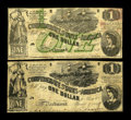 Confederate Notes:1862 Issues, T44/T55 $1 1862. This Fine pair of Steamship/Lucy Pickens noteshave a couple of pinholes to note.. From The William A...