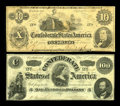 "Confederate Notes:1862 Issues, T46 $10 1862 VG, once mounted. T49 $100 VF.. The T46 has the error""Six Month"" in its obligation clause instead of the c... (Total: 2notes)"