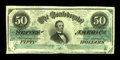 Confederate Notes:1862 Issues, T50 $50 1862. This Very Fine+ $50 displays stamp hinge residue anda little bit of foxing.. From The George P. Hammerl...