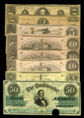 Confederate Notes:1862 Issues, December 2, 1862 Issues.. T50 $50 Fine+, HOC. T51 $20Fine. T52 $10(3) Fine, CC; VG, CC; VG, HOC. T53 $5 Fine,... (Total: 8 notes)
