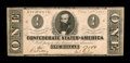 Confederate Notes:1862 Issues, T55 PF-2 State II $1 1862. This Crisp Uncirculated example has abit of light handling, a single pinhole, and has just a...