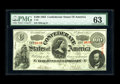 Confederate Notes:1863 Issues, T56 $100 1863. Though the right margin is a little tight, thedesign is fully intact. Often, this type is cut into the desig...