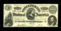 Confederate Notes:1863 Issues, T56 $100 1863. Serial number embossing is observed on this CrispUncirculated $100.. From The George P. Hammerly Colle...