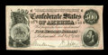 Confederate Notes:1864 Issues, T64 $500 1864. Embossing is strong on this $500 with a small corner fold. Choice About Uncirculated....