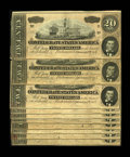 Confederate Notes:1864 Issues, T67 $20 1864. Ten consecutive examples This run of notes all have a partial Treasury stamp at lower left, however, four note... (Total: 10 notes)