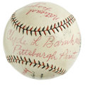 Autographs:Baseballs, Clyde Barnhart Single Signed Stat Baseball. An important piece ofthe Pittsburgh Pirates teams of the 1920s that won a pair...