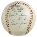 Autographs:Baseballs, 1960 Baltimore Orioles Team Signed Baseball. The 1960 BaltimoreOrioles, featuring Hall of Famer Hoyt Wilhelm, are represen...