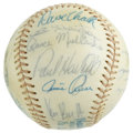 Autographs:Baseballs, 1977 California Angels Team Signed Baseball. Twenty-four members ofthe 1977 California Angels adorn the OAL (MacPhail) se...