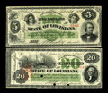Obsoletes By State:Louisiana, New Oleans, LA- State of Louisiana $5; $20 1866 Cr. 25; 27. These scarce postbellum notes were printed by the ABNCo. The $5 ... (Total: 2 notes)