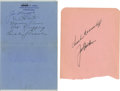 Autographs:Index Cards, 1942-43 New York Yankees Multi-Signed Pages Lot of 2. A total of seven baseball heroes from WWII-era New York appear on thi...