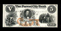 Obsoletes By State:Ohio, Cleveland, OH- The Forest City Bank $5 G12a Wolka 0732-11 Proof. Asecond Proof from this Cleveland bank, with this piece, l...