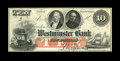 Obsoletes By State:Rhode Island, Providence, RI- Westminster Bank $10 G8c Durand 2042. A nice example of this pretty remainder. About Uncirculated....