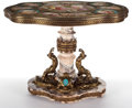 NAPOLEON III STYLE PORCELAIN AND GILT BRONZE MOUNTED MARBLE TABLE DE MILIEU ON FIGURAL BASE France, circa 19th ce