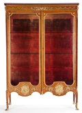 Furniture , LOUIS XV STYLE SATINWOOD VENEERED VITRINE CABINET WITH GILT BRONZE MOUNTS . France, circa 1890. 70-1/2 x 48-1/2 x 15 inches ...