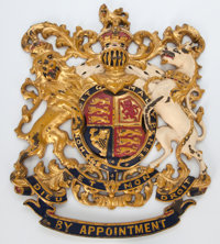 COLD-PAINTED CAST BRASS TRADESMAN'S COAT-OF-ARMS Circa 1900 14-1/4 inches high (36.2 cm)