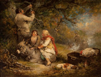 School of GEORGE MORLAND (British, 1763-1804) The Wood Cutter Oil on canvas 20-1/2 x 26-1/2 inche
