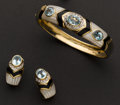 Estate Jewelry:Bracelets, Unusual Mother of Pearl, Black Onyx & Blue Topaz Bangle &Earrings. ... (Total: 2 Items)