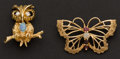 Estate Jewelry:Brooches - Pins, Opal & Gold Butterfly & Owl Pins. ...